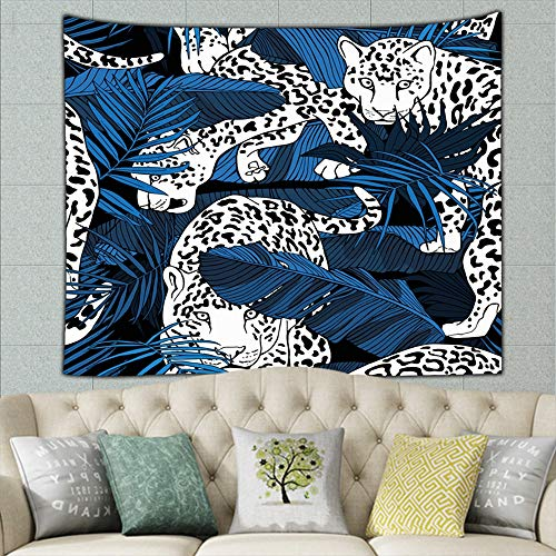 zuo chunhong5 Jaguars Tropical Banana Exotic Animals Wildlife Africa Tapestry Wall Hanging, Wall Tapestry with Art Nature Home Decorations for Living Room Bedroom Dorm Decor 50ʺ × 60ʺ