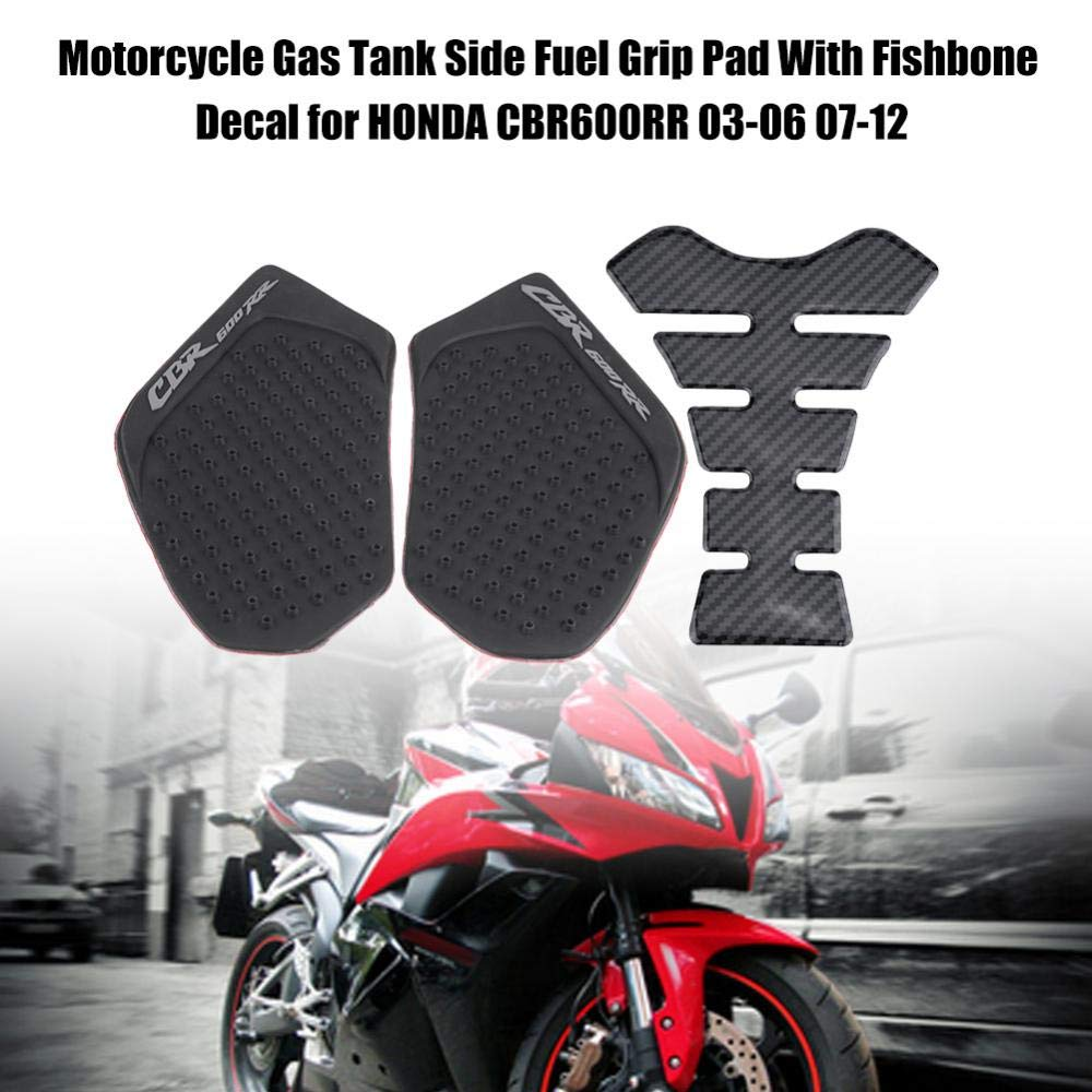 Tank Pads Motorcycle Petrol Tank Side Fuel Grip Cover with Fishbone Sticker for CBR600RR 03-06 07-12