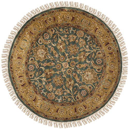 Safavieh Dynasty Collection DY319A Hand-Knotted Blue and Apricot Premium Wool Round Area Rug (8' Diameter)