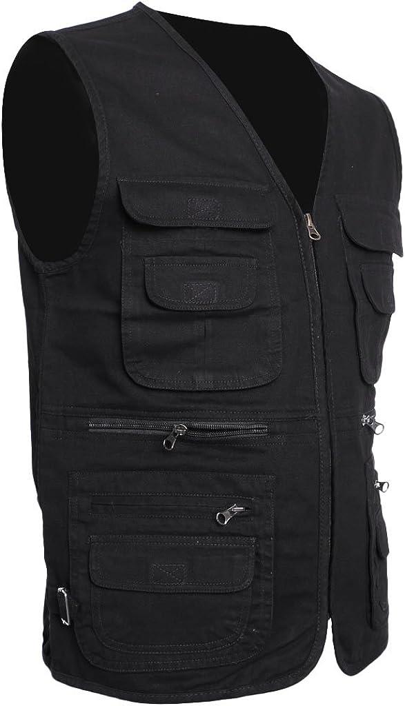 Outdoor Work Utility Vest Travel Vest Hunting Multi Pockets Baoblaze Mens Fishing Vest Sports Vest Waistcoat