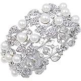 EVER FAITH® Flower Ivory Color Cream Simulated Pearl Bracelet Clear Austrian Crystal