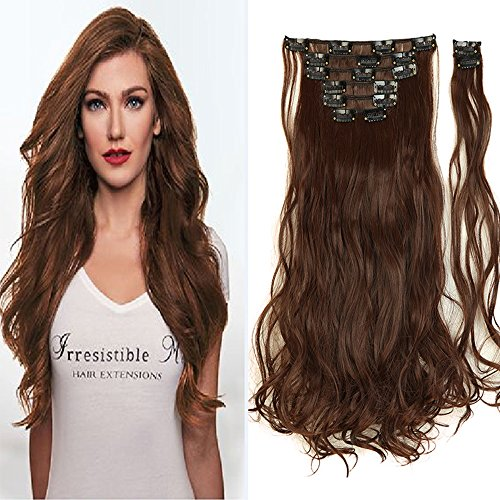 "8PCS/Set Full Head Clip in Hair Extensions 100% Real Natural Human Made Hight Quality Synthetic Hair 145G Thick 17-26"" Long Hairpiece(24"" Curly Medium Brown)"