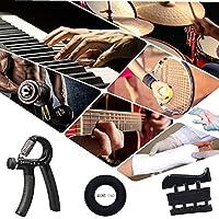 Hand Grip Strengthener Workout Kit Adjustable Hand Gripper Finger Stretchers Finger Exerciser and Grip Ring-Carrying Bag Included (Black)