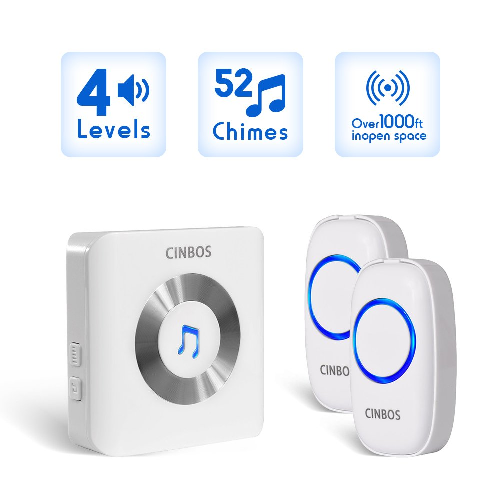 Wireless Doorbell Battery Operated Cinbos Waterproof Door Bells Chime Kit For Home Led Lights 2 Remote Buttons And 1 Receiver 1000 Feet Range With Circuit Diagram Of Bell Electronics Project 52
