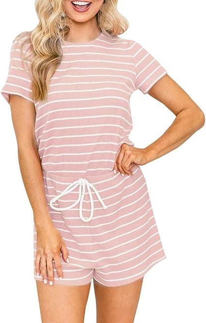 LeeMon - Mono corto de verano para mujer, de algodón, sin mangas, de cintura alta, elegante, de una sola pieza: Amazon.es: Belleza