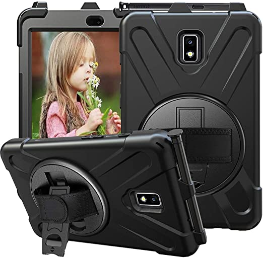 Amazon Com Ccmao Galaxy Tab Active 2 Case Sm T390 T395 T397 Case Hand Strap 360 Degree Rotating Kickstand Full Body Impact Protective Case For Samsung Galaxy Tab Active 2 8 0 Sm T390 T395 T397 Black