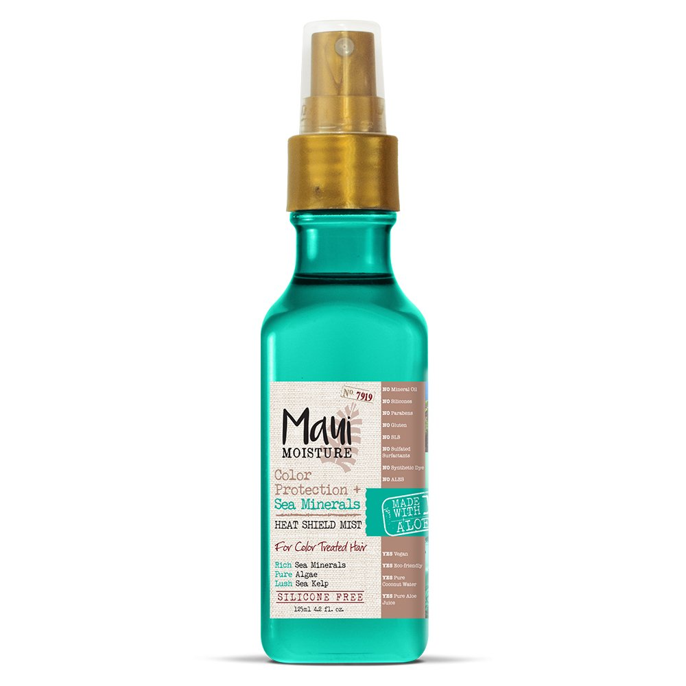 Maui Moisture Color Protection + Sea Minerals Heat Shield Mist (4.2 Ounce Bottle); Silicone Free Mist Helps Control Frizz and Leave Hair Looking Smooth, Healthy and Shining Non-GMO Vogue International 022796180735