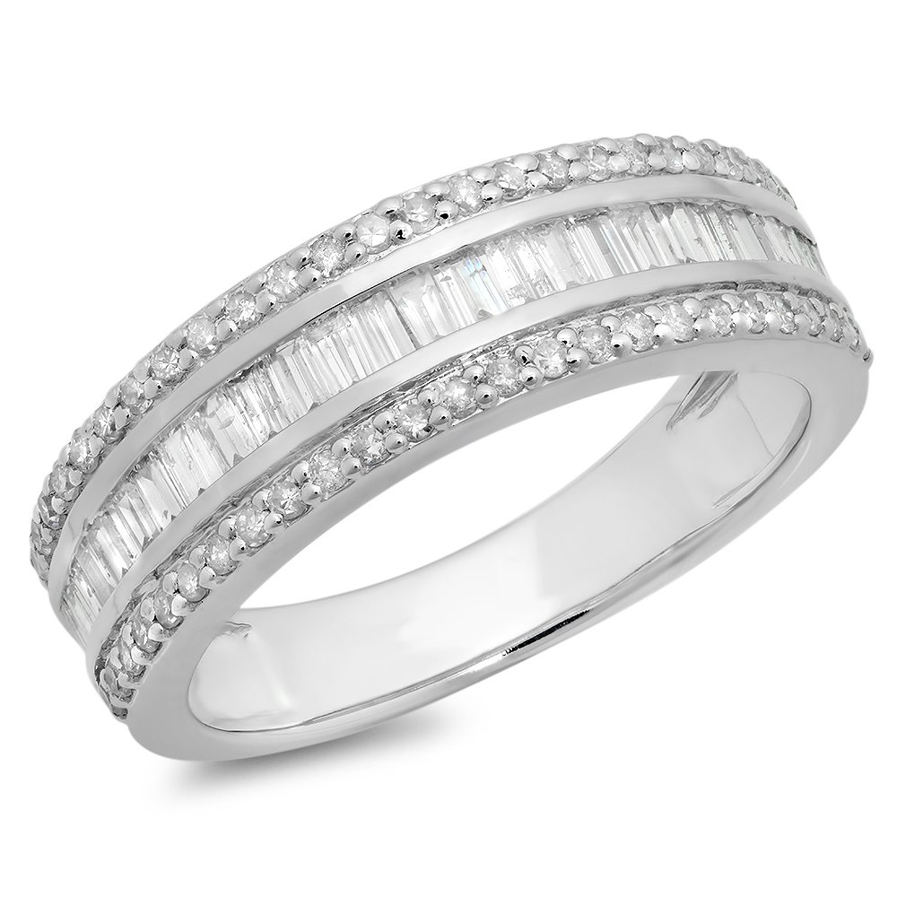 0.95 Carat (ctw) 10K White Gold Round & Baguette Diamond Anniversary Wedding Band Ring 1 CT (Size 10)