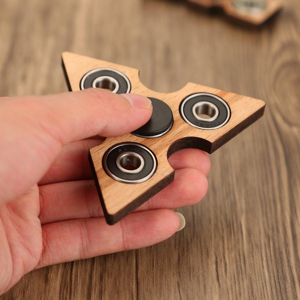 Anself 指スピナー スピン ウィジェット フォーカス玩具 三角プラスチックギフト ADHD子供大人に適用(木制三角形)