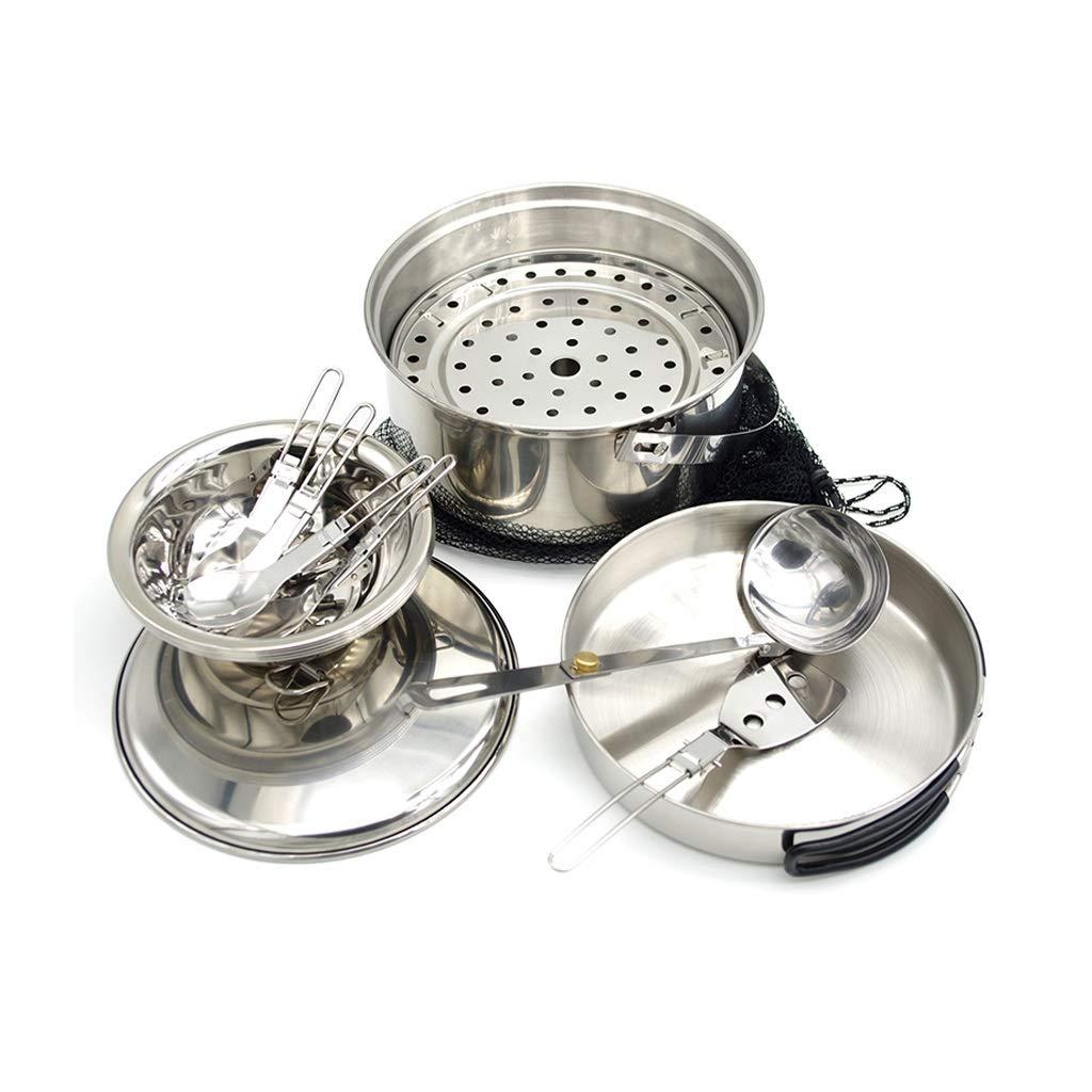 屋外の携帯用ステンレス鋼の炊事道具のキャンプの鍋3-4人のキャンプのピクニック調理器具セット  シルバー しるば゜ B07Q358WL9