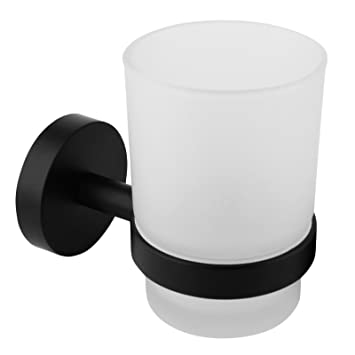 croydex flexi fix pendle wall mounted bathroom toilet accessories toothbrush frosted glass tumbler cup holder