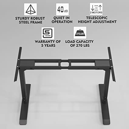 Electric Desk Frame, Dual Motors Height Adjustable Desk Legs Standing Desk  Frame Black( Table