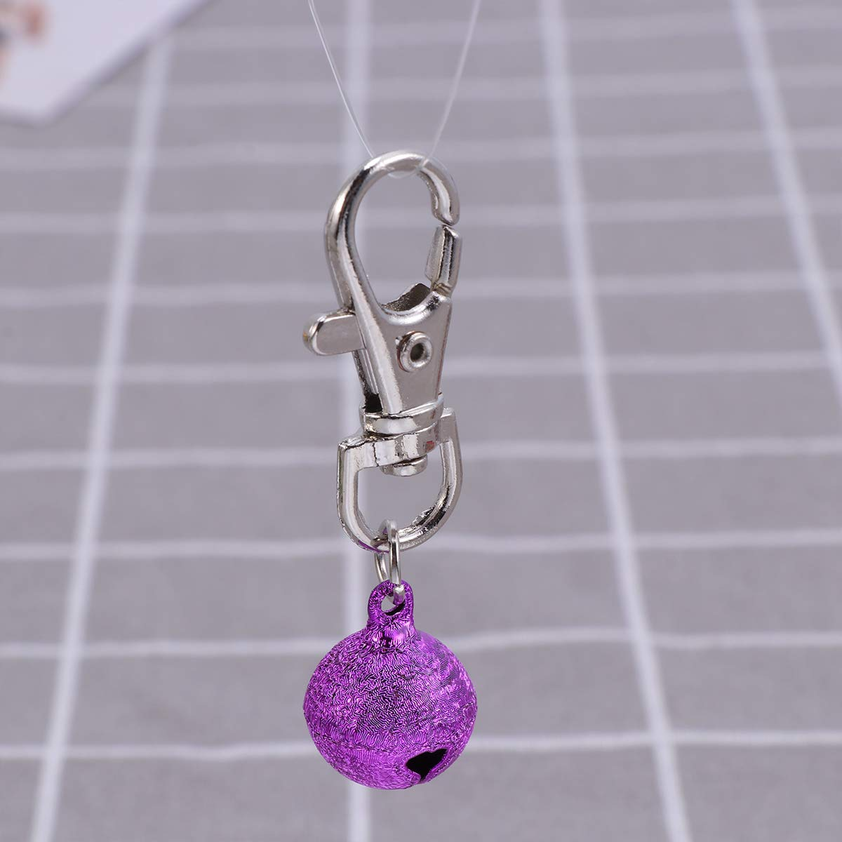 POPETPOP Cat Bells Loud-Pet Pendant Necklace Bell Dog Bell Charm-24pcs Cool Colorful Sandblasting Bell Pets Accessories with Key Chain Random Color