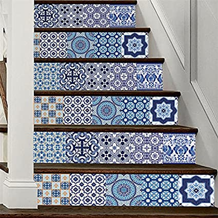 "AmazingWall 18x100CM/7.1x39.4"" 6PCS/SET Traditional Mexican Talavera Tile Stair Sticker 3D Printing Removeable Waterproof Wallpaper Decor Home Decorations (blue)"