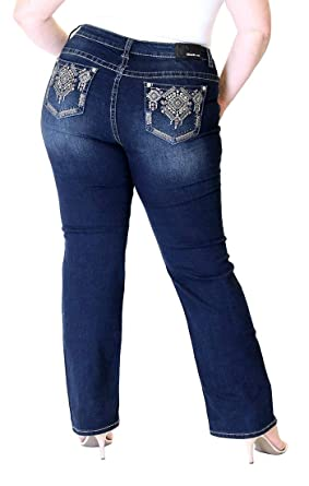 399bc0fc7b078 Grace in LA Plus Size Mid Rise Dark Aztec Pocket Embellished Straight Leg  Jeans (18