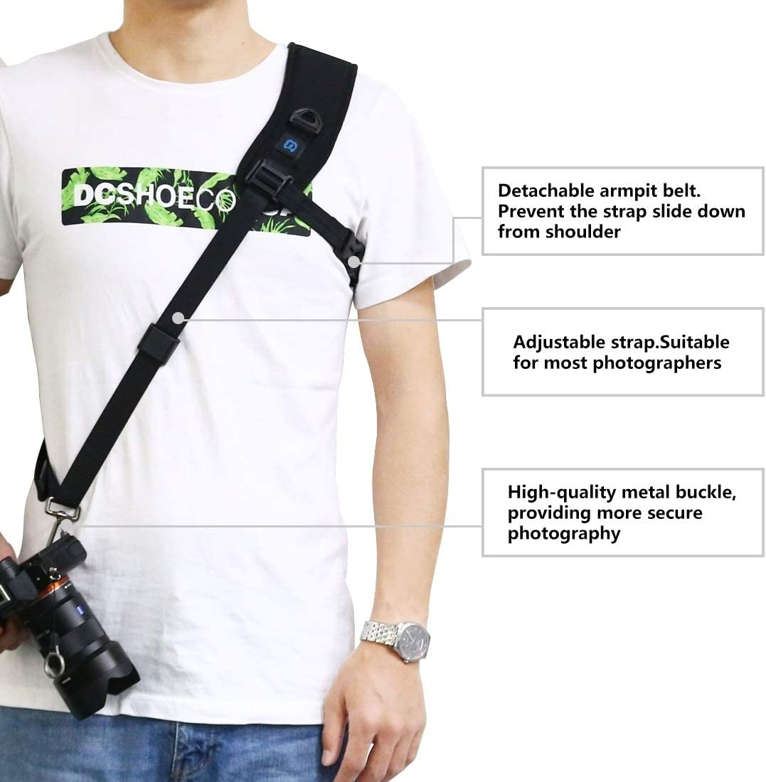 Camera Accessory Quick Release Anti-Slip Soft Pad Nylon Breathable Curved Camera Strap with Metal Hook for SLR//DSLR Cameras Camera /& Camcorder Strap