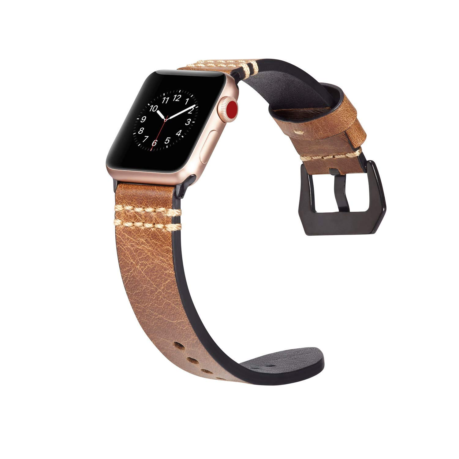 Cywulin Compatible with Apple Watch Band 38mm 42mm 40mm 44mm, Leather Replacement Loop Wrist Strap Bracelet for iWatch Series 4 3 2 1 Sport Edition with Stainless Steel Clasp Adapters (42mm/44mm, F)