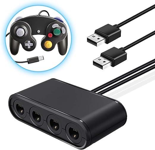 Adaptador de Controlador de 4 Puertos Gamecube NGC para Nintendo Wii U Switch PC USB Plug and Play: Amazon.es: Hogar