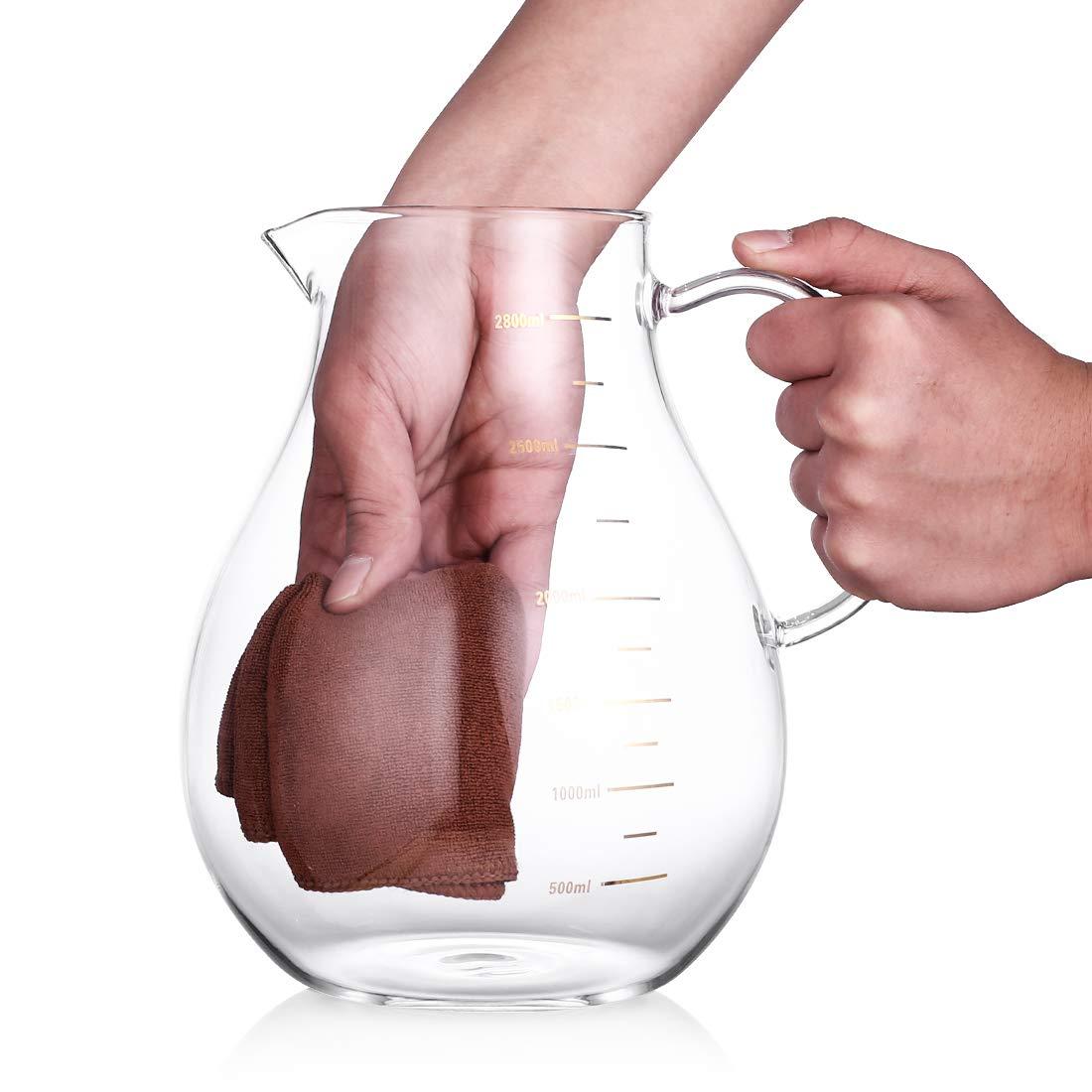 2 tasses avec carafe en verre. Oneisall Pichet /à eau 2,8 l avec couvercle en baboo Grande capacit/é Pichet en verre avec mesure