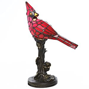 Tiffany Style Stained Glass Table Lamp: 13.5 Inch Red Cardinal Victorian Style Accent Lamp with Vintage Bird and Bronze Floral Tree Base - High-End, Decorative Colorful Pedestal Lamps for Small Home Décor