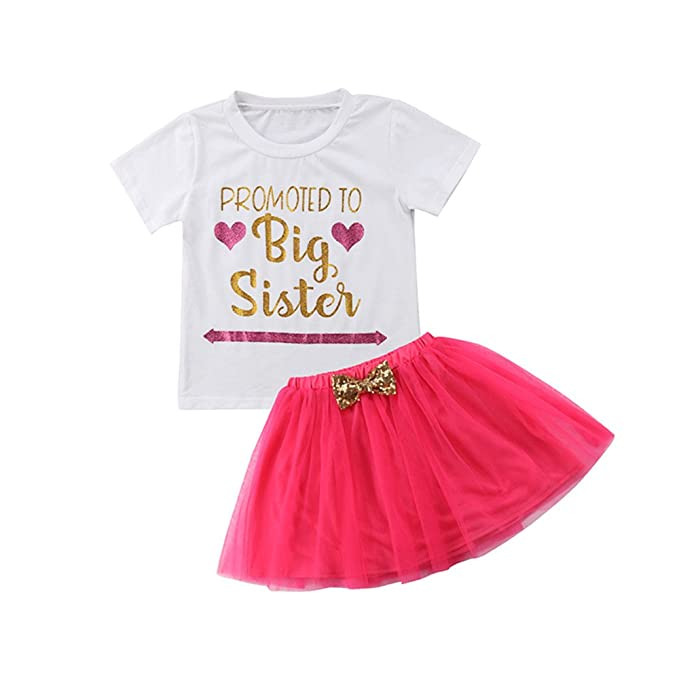 c1922ea79e Toddler Baby Girls Short Sleeve Big Sister White T Shirt Tops+Tulle Tutu  Skirt Set