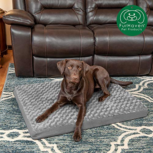 Furhaven Pet Dog Bed | Deluxe Orthopedic Mat Ultra Plush Faux Fur Traditional Foam Mattress Pet Bed w/ Removable Cover for Dogs & Cats, Gray, Large (Dog Covers Replacement Rectangle Bed)