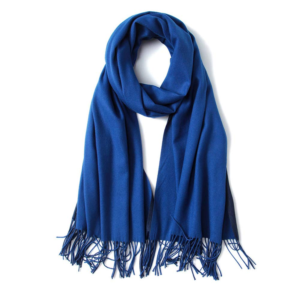 Chic-Dona Winter Scarves Oversize Womens Large Soft Cashmere Feel Pashmina Shawls Wraps Light Weight Scarfs AA10055 Blue