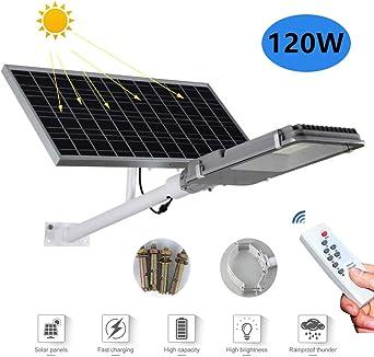 Luces de inundación solar Farola solar LED Brillo alto Luz de seguridad Con control remoto IP65 a prueba de agua Luz de jardín Lámpara de ingeniería Adecuado para Patio, Iluminación Solar Vial,120w: