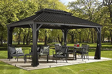 Sojag Messina Hard Top Sun Shelter 12 By 16 Charcoal