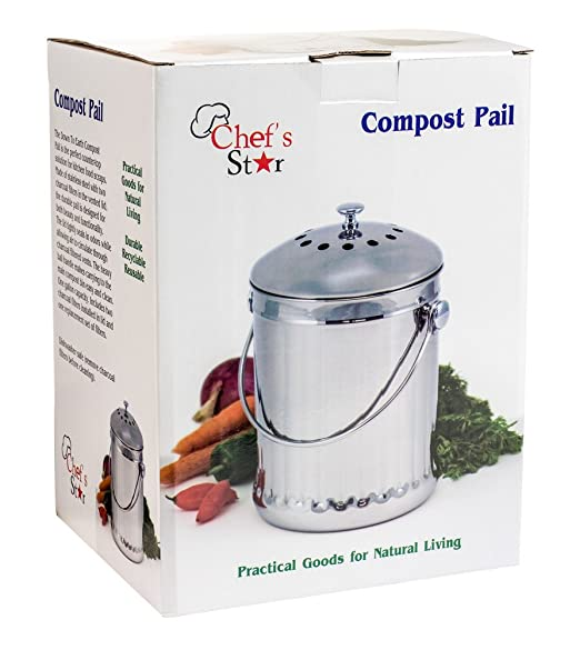 Chef de Star Premium de acero inoxidable para compost 1 Gallon: Amazon.es: Hogar