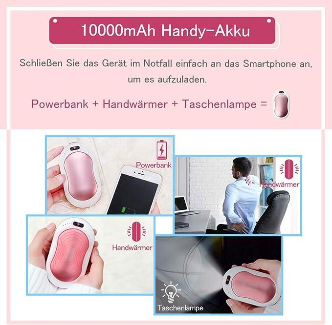 Atsuo Wiederaufladbarer Handw/ärmer USB Taschenw/ärmer 6000mAh 3-stufige Temperatureinstellung LCD-Anzeige Powerbank//Handw/ärmer//Taschenlampenfunktion 3 Sekunden Aufheizen