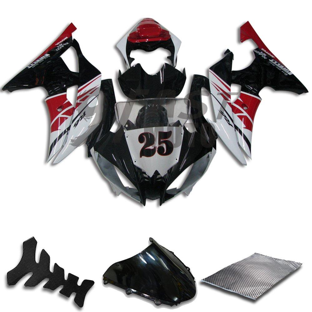 9FastMoto yamaha ヤマハ R6 YZF-600 2008 2009 2010 2011 2012 2013 2014 2015 用フェアリング オートバイフェアリングキット ABS 射出成形セット スポーツバイク カウル パネル (ブラック & レッド) Y0715   B07BRDX5J3