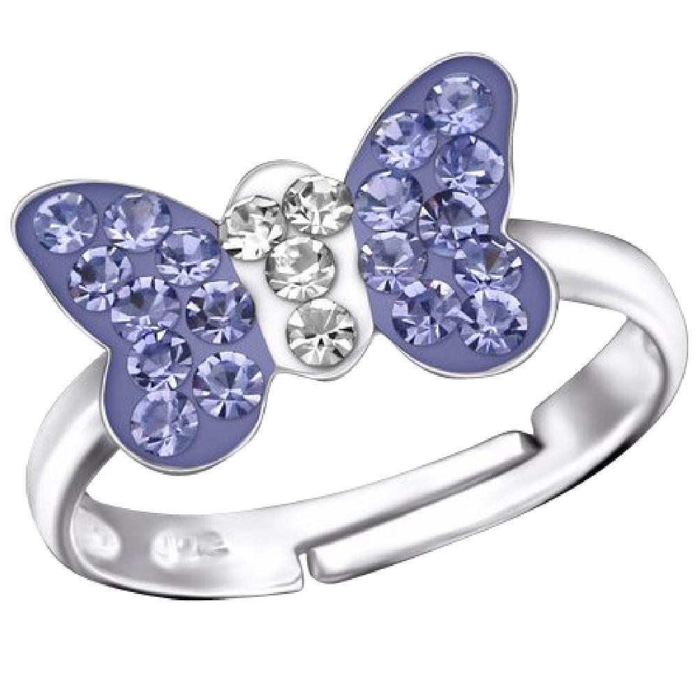 So Chic Bijoux © Bague Enfant Réglable Papillon Cristal Violet Blanc Argent 925 So Chic Schmuck LB6792