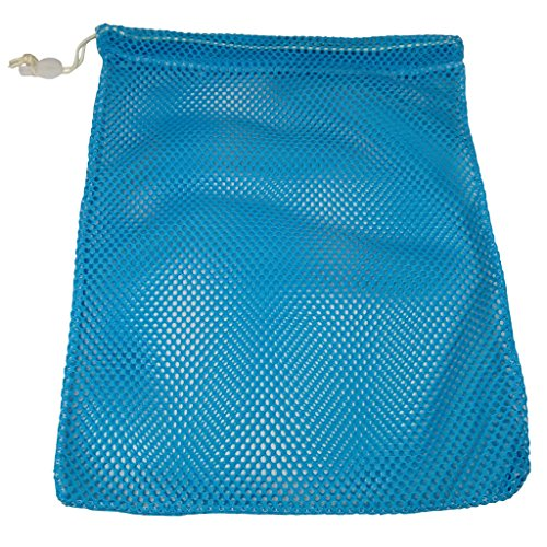(SGT KNOTS Mesh Bag USA Made (Small) 550 Paracord Drawstring Bag - Ventilated Washable Reusable Stuff Sack for Laundry, Gym Clothes, Swimming, Camping, Diving, Travel(12 inch x 15 inch - Sky Blue))