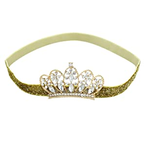 Gold Crown Headbands for Girls Boys Baby Princess Crown Hair Bands Infant Tiara Toddler Birthday Headband Newborn Photo Prop for Birthday Party Baby Shower