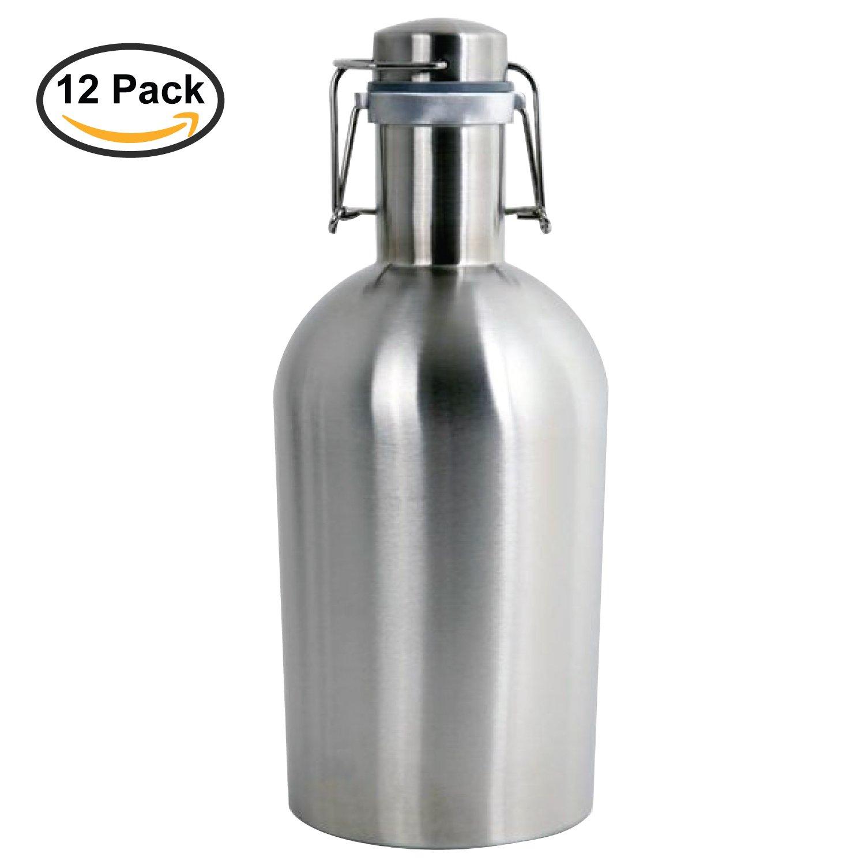 Thirsty Rhino Remba, 64 oz Stainless Steel Beer Growler Jug, Brushed Silver (Set of 12)