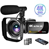"""Camcorder 4K Video Camera with Microphone Vlogging Camera YouTube Camera Recorder Ultra HD 30MP 3.0"""" IPS Touch Screen…"""