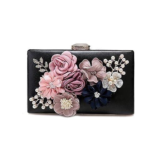Women s Satin Flower Dinner Clutch Pearl Beaded Evening Hand Bag (Black)
