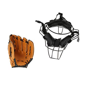 MagiDeal Baseball Catcher Protective Gear Face Guard Mask + Baseball Glove  10.5inch - Breathable and d64ee37ced