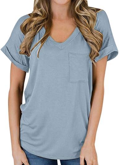 VEMOW Cuello de Slash Moda para Mujer Bolsillo Casual Manga Corta Tops con Cuello en v Blusa Informal Camiseta: Amazon.es: Ropa y accesorios