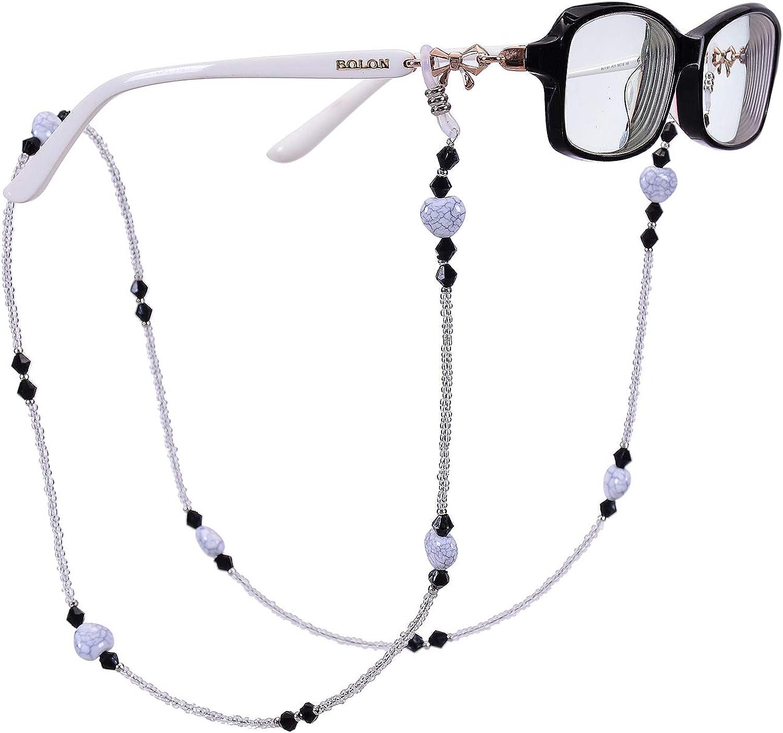 75cm Eyeglass Chains Holders Beaded Glasses Cord Anti-slip Glasses Neck Cord Sunglasses Strap Lanyard Eyewear Strap nuoshen Multi-Colour Beaded Eyeglasses Chain