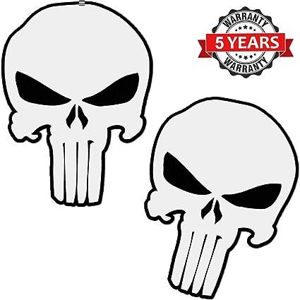 SkinoEu® 2 x PVC Laminado Pegatina Adhesivos Punisher Calavera Skull para Autos Coches Motos Ciclomotores Bicicletas Ordenador Portátil Regalo B 28: Amazon.es: Coche y moto