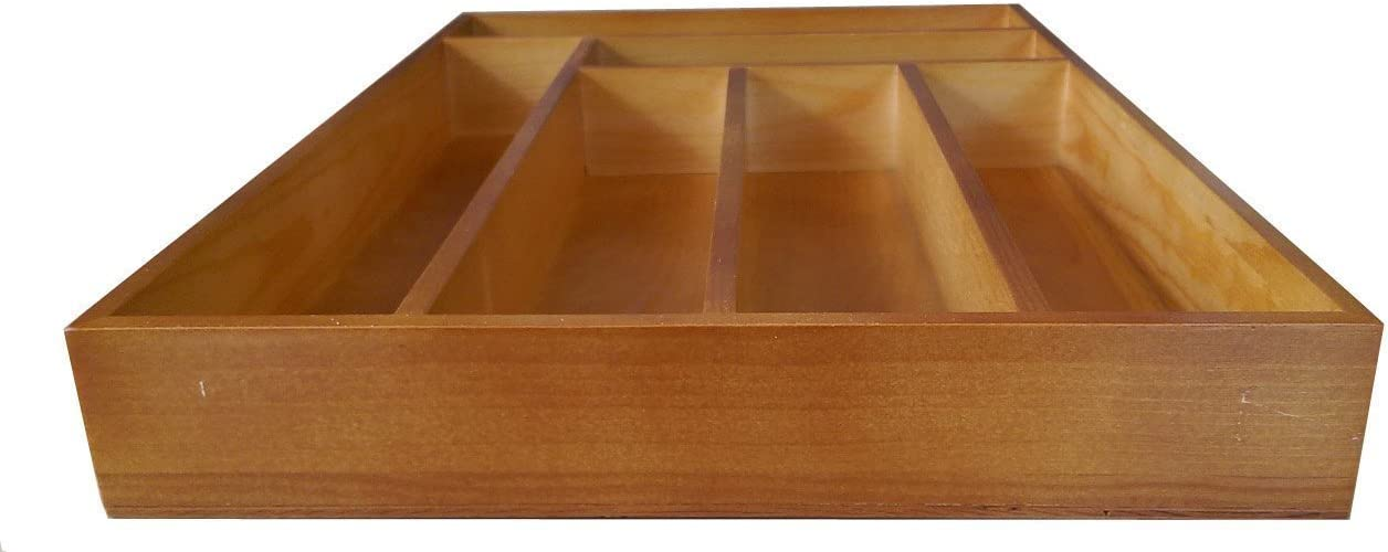 Premium Quality Space Saving Bamboo Wooden Cutlery Tray Kitchen Drawer Organizer Utensils and Kitchen Gadget Tool Storage Tray Wooden Storage 6 Compartments