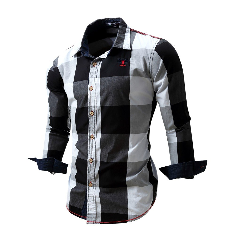 Overmal Men's Checked Shirt Long Sleeve Non-Iron Casual Blouse Cotton Slim Fit Plaid Top by OVERMAL Dress Shirts (Image #3)