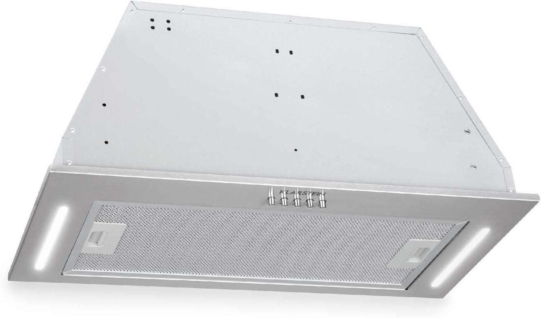 Klarstein Down Under - Campana extractora, Extractor de humos, 60 cm, Absorción de 590 m³/h, 190 W de potencia en 3 niveles, LED, Acero inoxidable, 61 dB, Material de montaje, Plateado