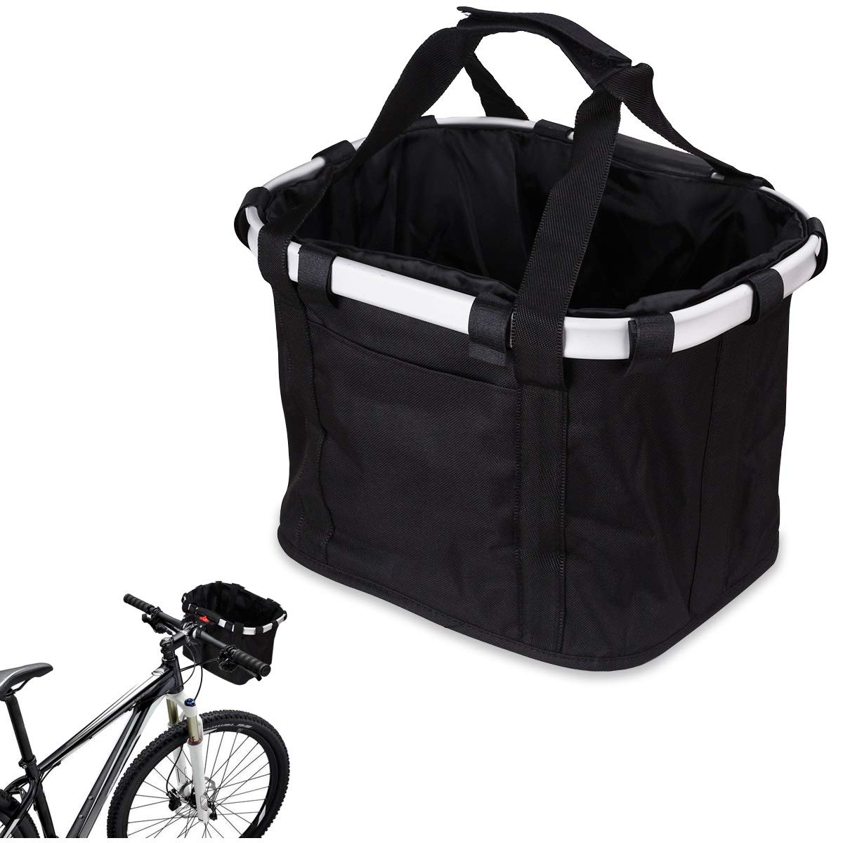 Mini-Factory Bicycle Basket for Bike Handlebar, Foldable Basket with Detach Button and Hand Carrying Strap - Black