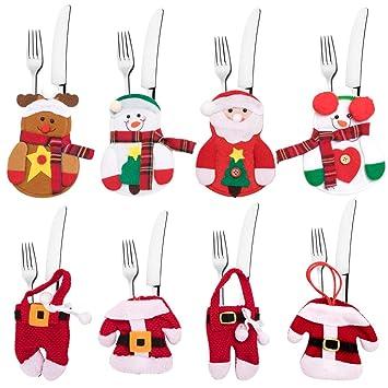 8 Piezas Bolsa de Cubiertos de Navidad, Rojo Medias De Navideño Comida Bolsas De Mesa, Adornos Navideños, Santa Muñeco De Nieve Renos, Cuchillos ...
