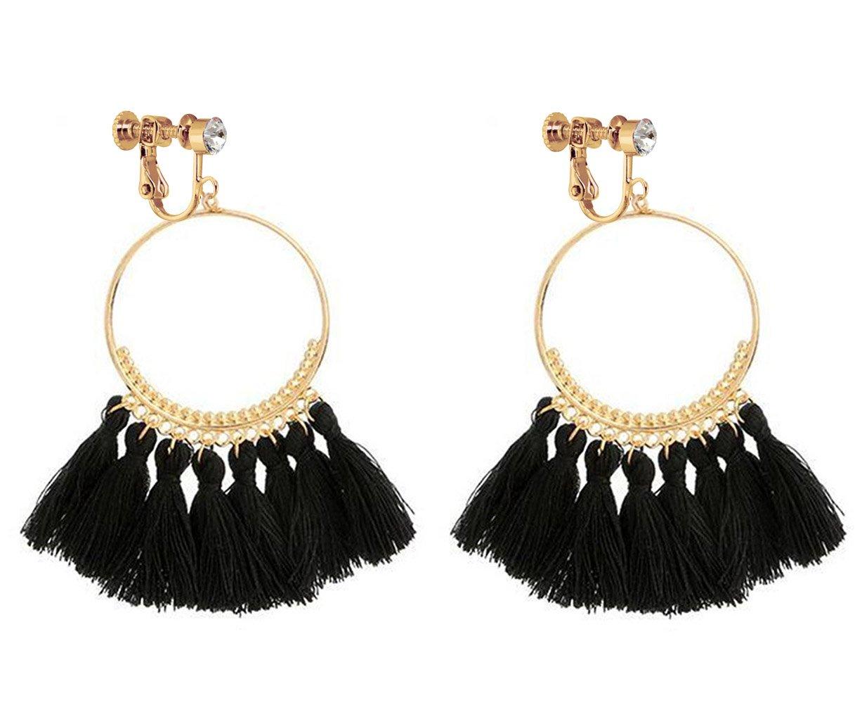 Bohemia Long Dangle Rhinestone Clip on Earrings Tassel Thread for Women Circle Drop Gold Hoop Black by Latigerf