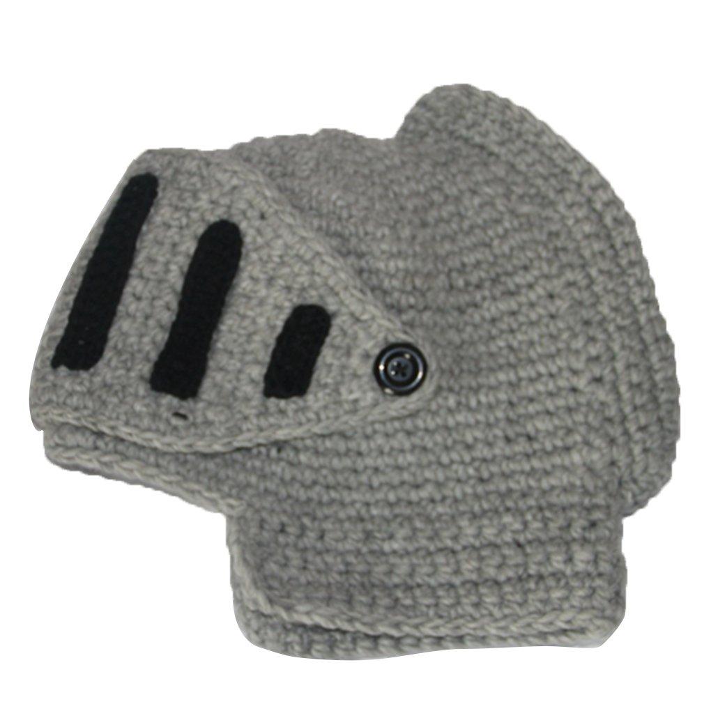 M-Egal Roman Knight Knit Hat Cap Face Neck Wind Handmade Winter Cotton Hat Gladiator Masks Cap light gray