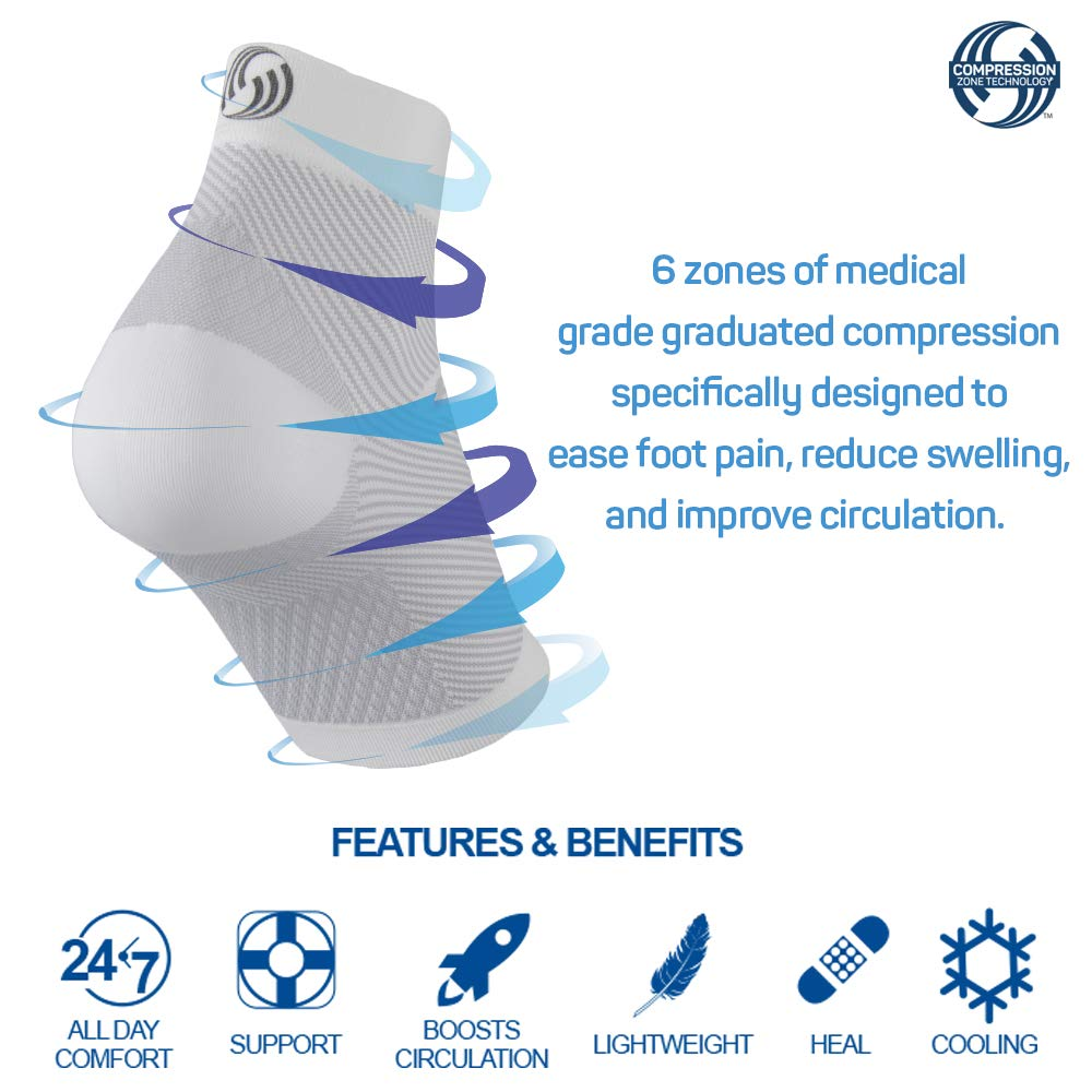 c9dbfd65d6 Amazon.com: OrthoSleeve FS6 Compression Foot Sleeve (One Pair) for Plantar  Fasciitis, Heel Pain, Achilles Tendonitis and Swelling: Sports & Outdoors